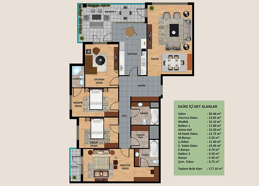 Oden Luxe daire planları!
